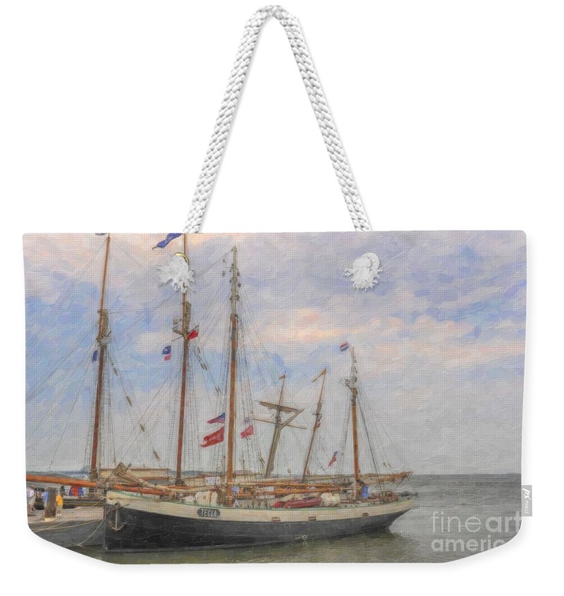 Charleston Weekender Tote Bag featuring the photograph Charleston Ships by Dale Powell