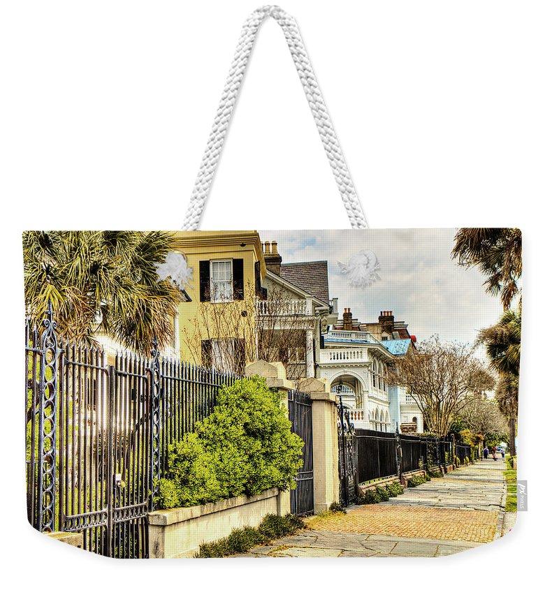 Charleston Weekender Tote Bag featuring the photograph Charleston Sidewalk by Emily Kay