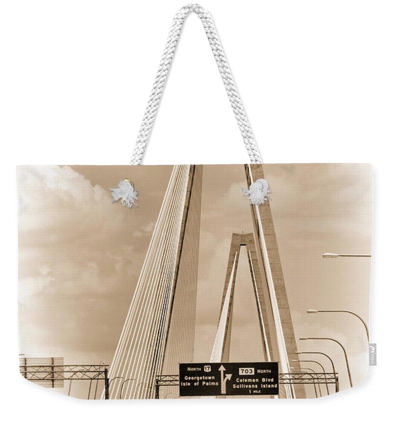 Arthur Ravenel Jr. Bridge Weekender Tote Bag featuring the photograph Charleston's Arthur Ravenel Jr. Bridge by Kathy Clark