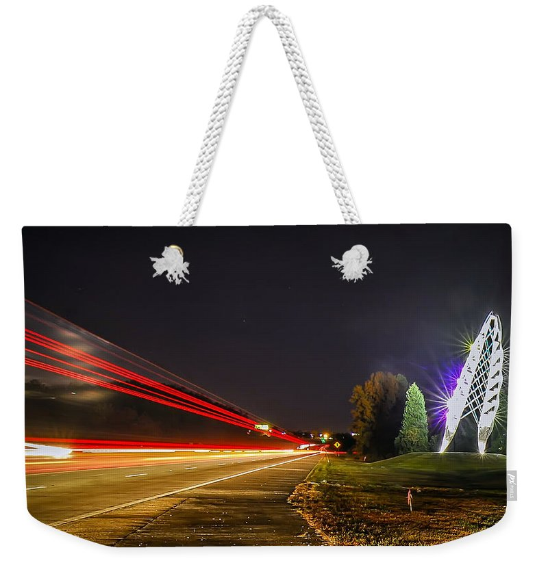 Airport Weekender Tote Bag featuring the photograph Charlotte City Airport Entrance Sculpture by Alex Grichenko