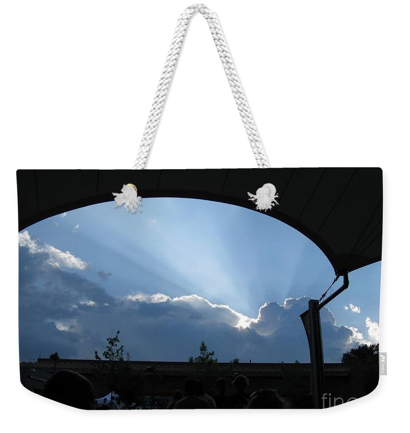 Sky Weekender Tote Bag featuring the photograph Charlottesville Pavilion July 2008 by Ausra Huntington nee Paulauskaite