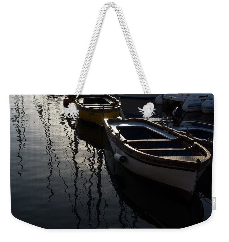 Charming Weekender Tote Bag featuring the photograph Charming Old Wooden Boats In The Harbor by Georgia Mizuleva