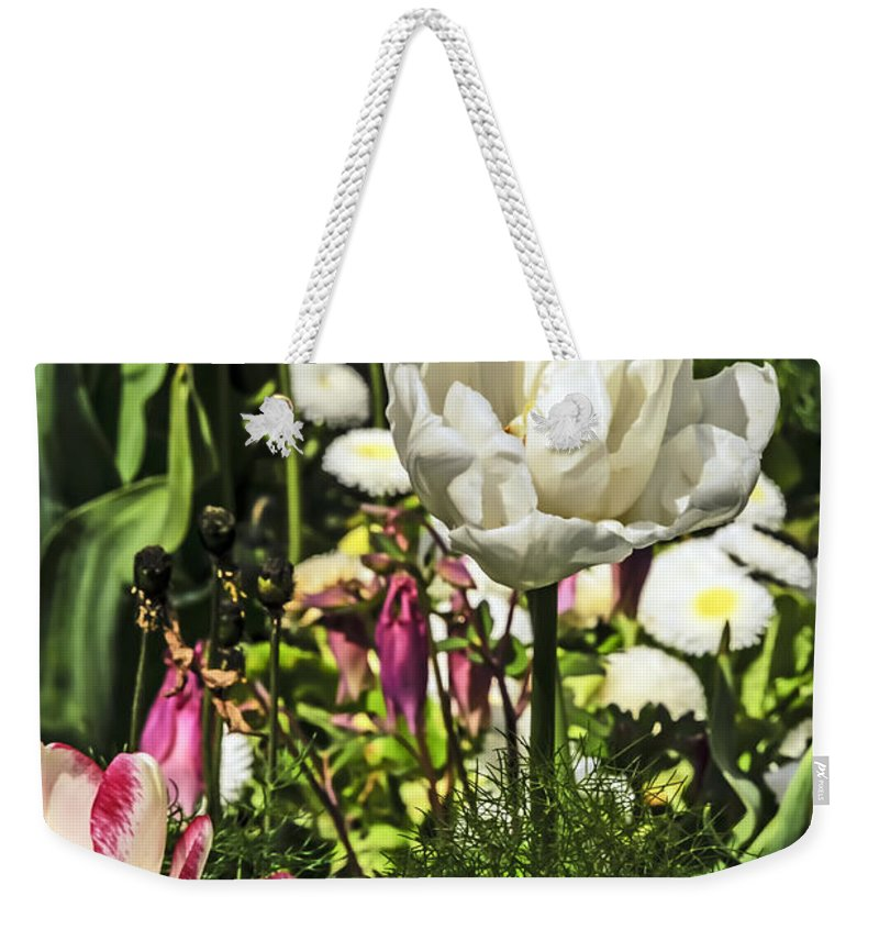 Travel Weekender Tote Bag featuring the photograph Chartres Garden White by Elvis Vaughn