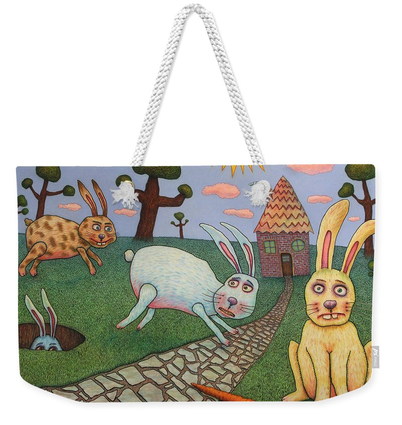 Rabbits Weekender Tote Bag featuring the painting Chasing Tail by James W Johnson