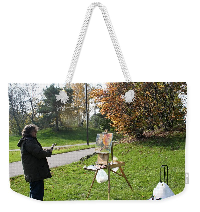 Outdoor Painting Weekender Tote Bag featuring the photograph Chasing The Autumn Colors by Ylli Haruni