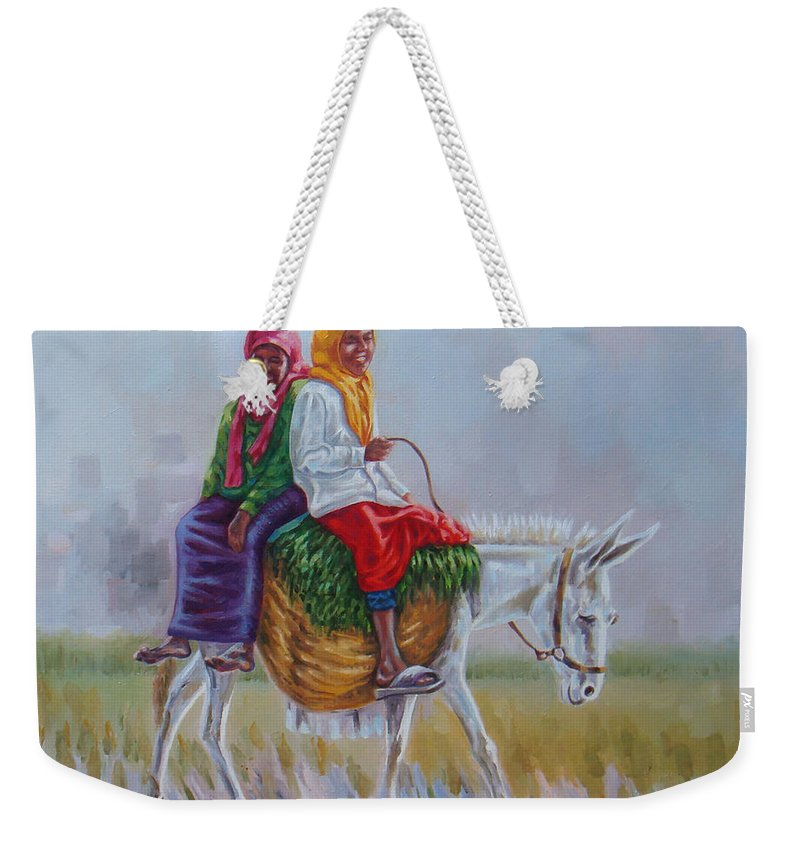 Musician Weekender Tote Bag featuring the painting Chat by Ahmed Bayomi
