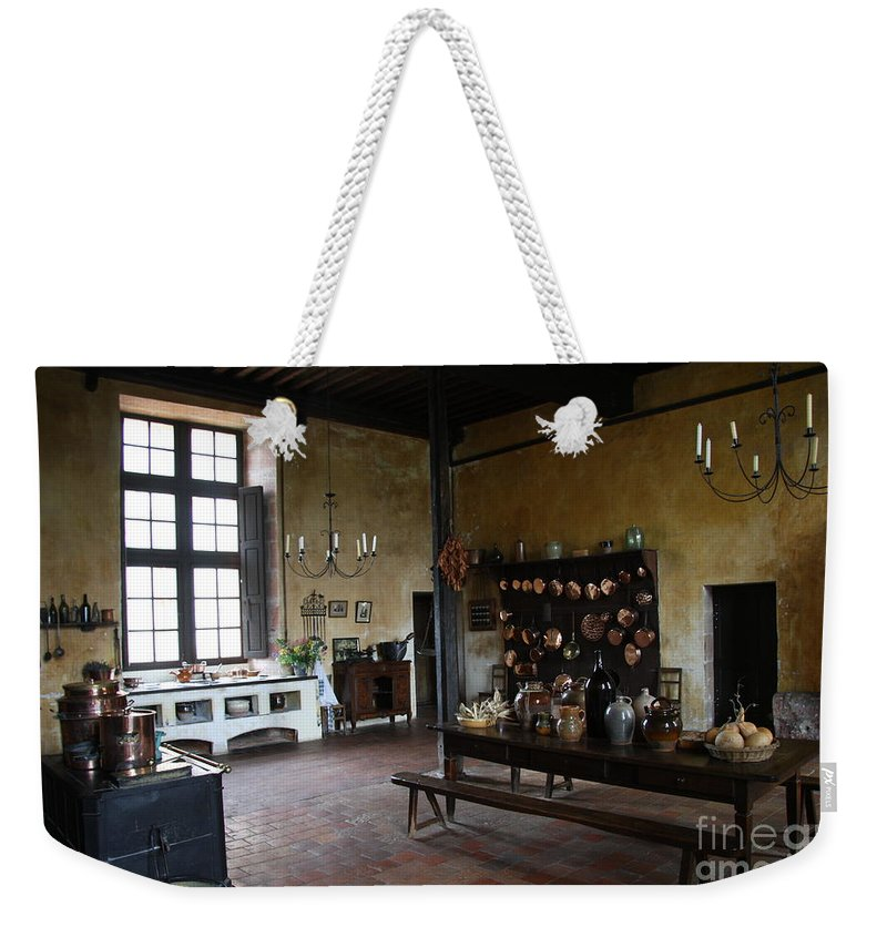 Palace Weekender Tote Bag featuring the photograph Chateau De Cormatin Kitchen - Burgundy by Christiane Schulze Art And Photography