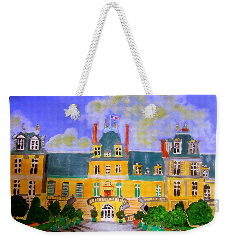 Chateaux Weekender Tote Bag featuring the painting Chateau de Fontainebleau by Rusty Gladdish