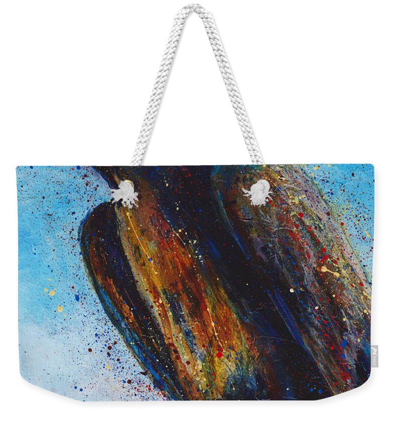 Chatty Weekender Tote Bag featuring the painting Chatty Cathy by Cindy Johnston