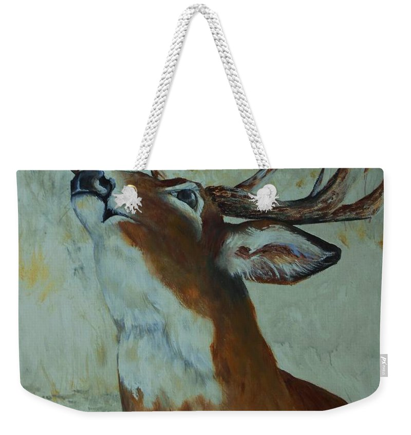 Deer Weekender Tote Bag featuring the painting Checking Scent Limb by Jane Harris
