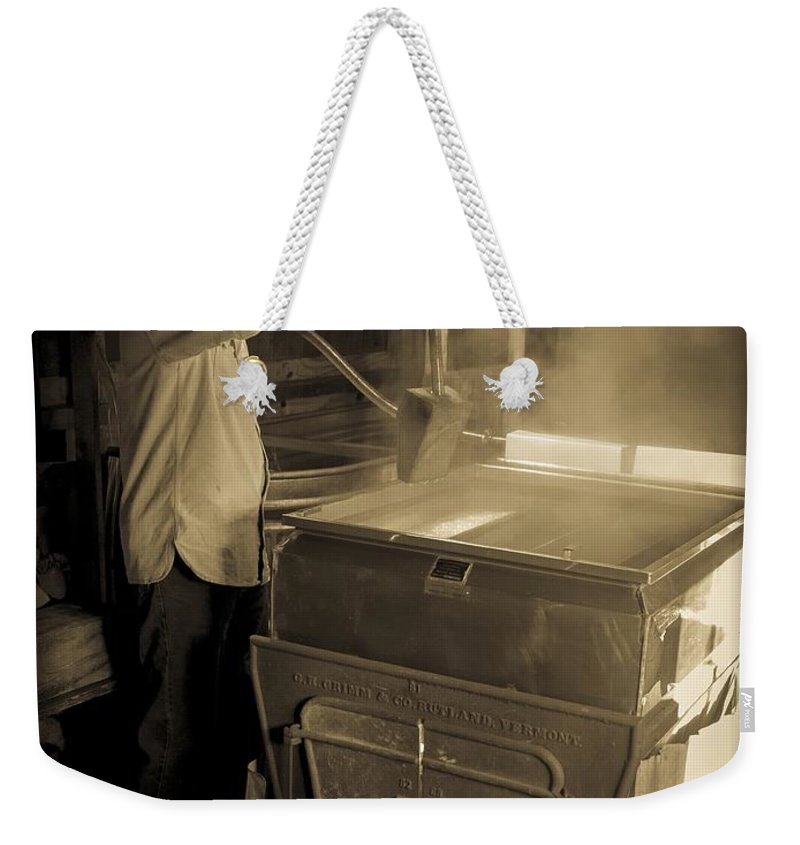 Maple Weekender Tote Bag featuring the photograph Checking The Maple Syrup by Edward Fielding