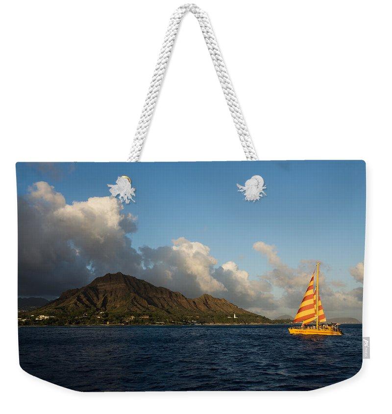 Diamond Head Weekender Tote Bag featuring the photograph Cheerful Orange Catamaran And Diamond Head - Waikiki - Hawaii by Georgia Mizuleva