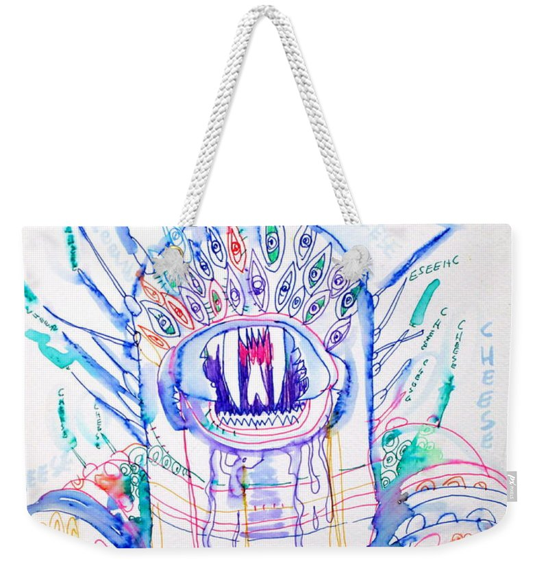 Monster Weekender Tote Bag featuring the drawing Cheese by Fabrizio Cassetta