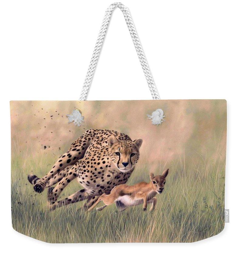 Cheetah Weekender Tote Bag featuring the painting Cheetah And Gazelle Painting by Rachel Stribbling