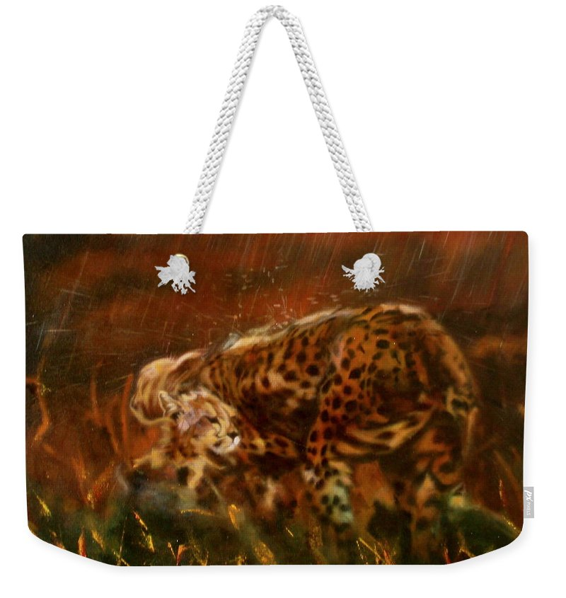 Rain;water;cats;africa;wildlife;animals;mother;shelter;brush;bush Weekender Tote Bag featuring the painting Cheetah Family After The Rains by Sean Connolly