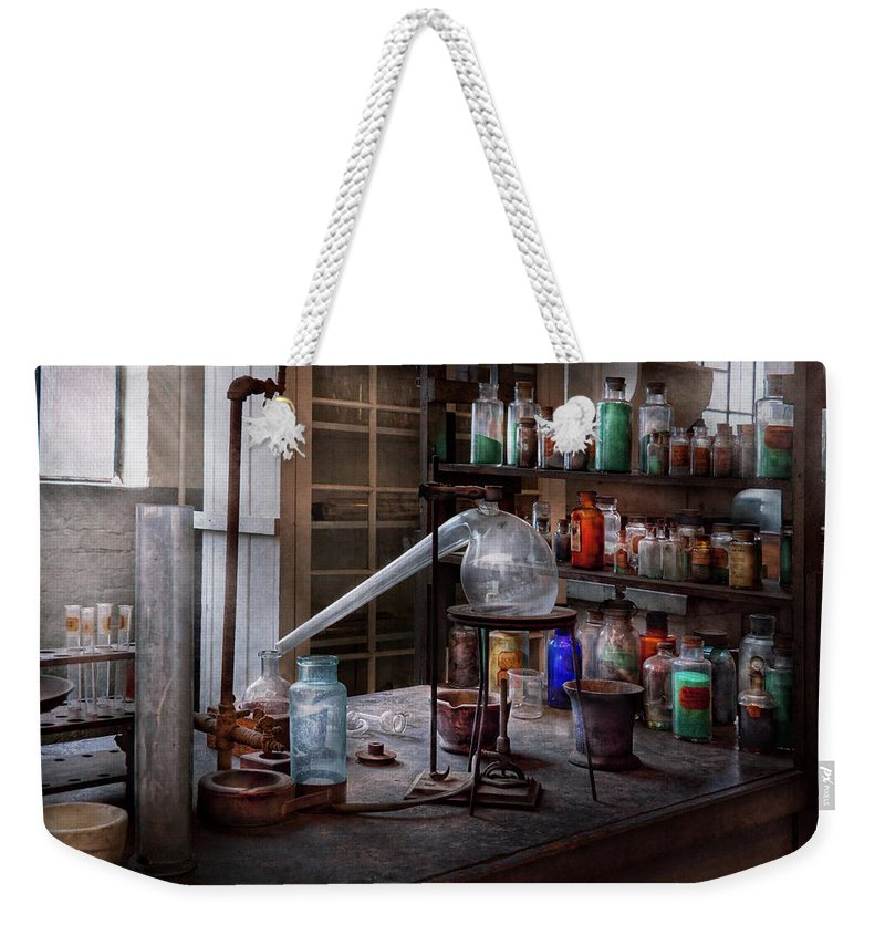 Hdr Weekender Tote Bag featuring the photograph Chemist - My Retort Is Better Than Yours by Mike Savad