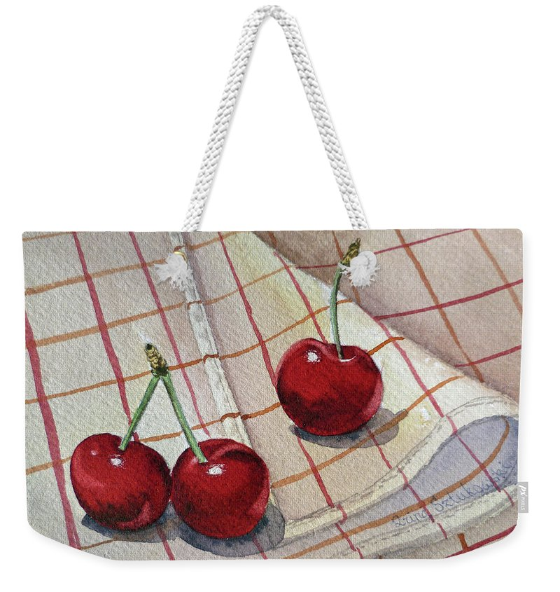 Watercolor Paintings Weekender Tote Bag featuring the painting Cherry Talk By Irina Sztukowski by Irina Sztukowski