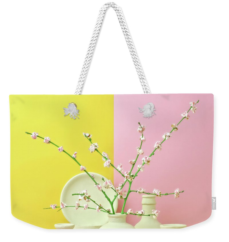 Out Of Context Weekender Tote Bag featuring the photograph Cherry Blossom Popcorn In Monochromatic by Juj Winn