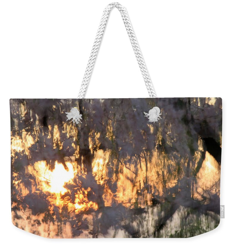 Cherry Weekender Tote Bag featuring the photograph A Cherry Blossom Sunset by Cora Wandel