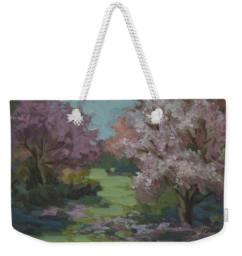 Cherry Trees Weekender Tote Bag featuring the painting Cherry Blossoms by Diane McClary