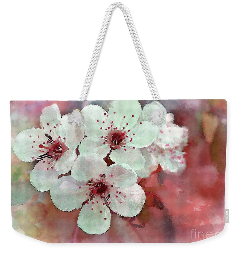 Pink Weekender Tote Bag featuring the photograph Apple Blossoms In Soft Pink - Digital Paint by Debbie Portwood