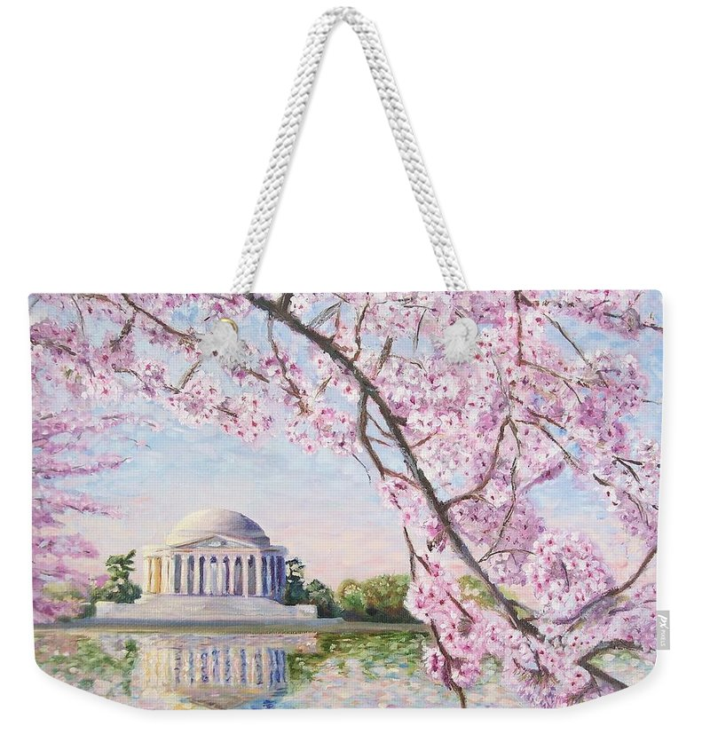 Jefferson Memorial Weekender Tote Bag featuring the painting Jefferson Memorial Cherry Blossoms by Patty Kay Hall
