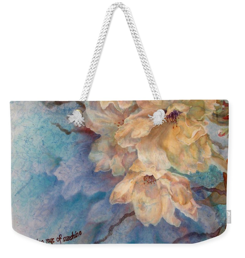 Flower Weekender Tote Bag featuring the painting Cherry Blossoms N Lace by Deborah Younglao