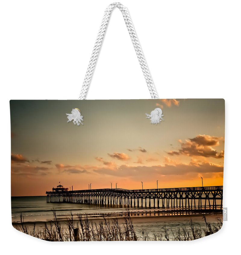 Cherry Grove Weekender Tote Bag featuring the photograph Cherry Grove Pier Myrtle Beach Sc by Trish Tritz