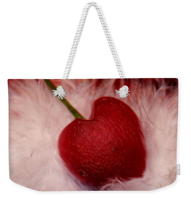 Heart Artred Cherry Heart Weekender Tote Bag featuring the photograph Cherry Heart by Linda Sannuti