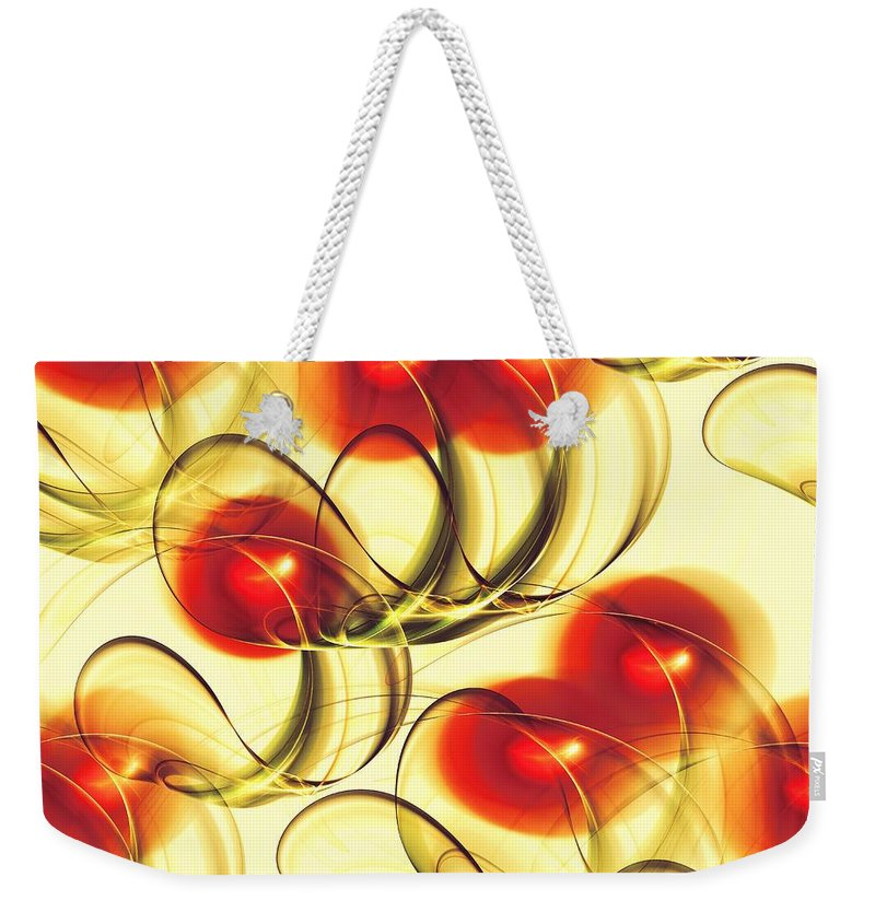 Abstract Weekender Tote Bag featuring the digital art Cherry Jelly by Anastasiya Malakhova