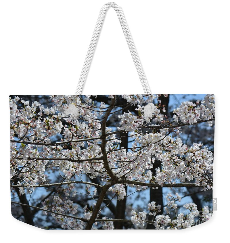Flowers Weekender Tote Bag featuring the photograph Cherry Lane Series Picture B by Barb Dalton