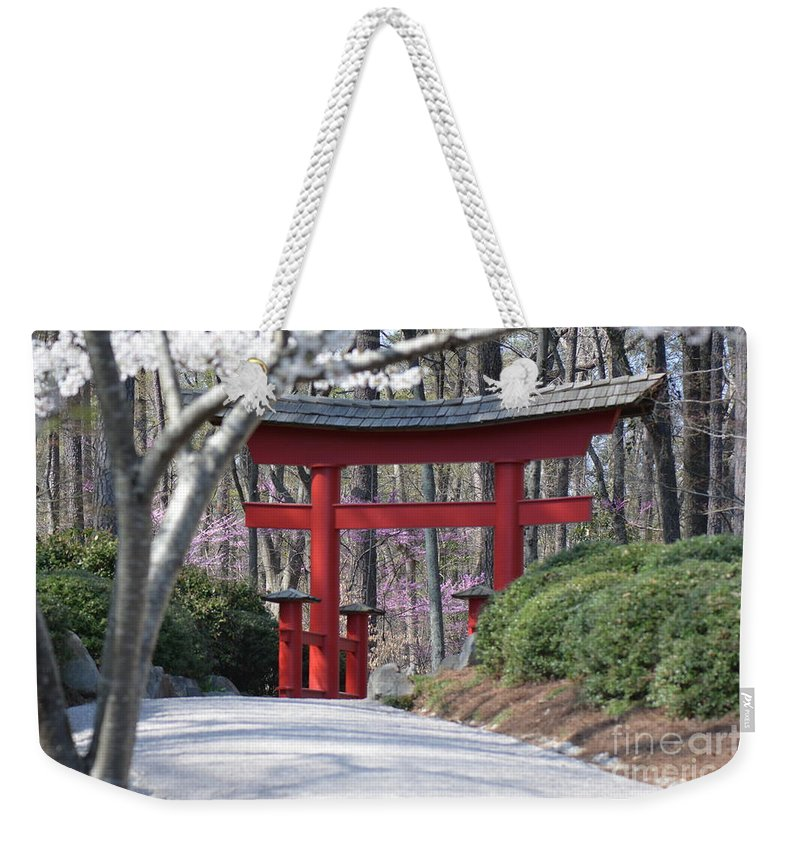 Flowers Weekender Tote Bag featuring the photograph Cherry Lane Series Picture F by Barb Dalton