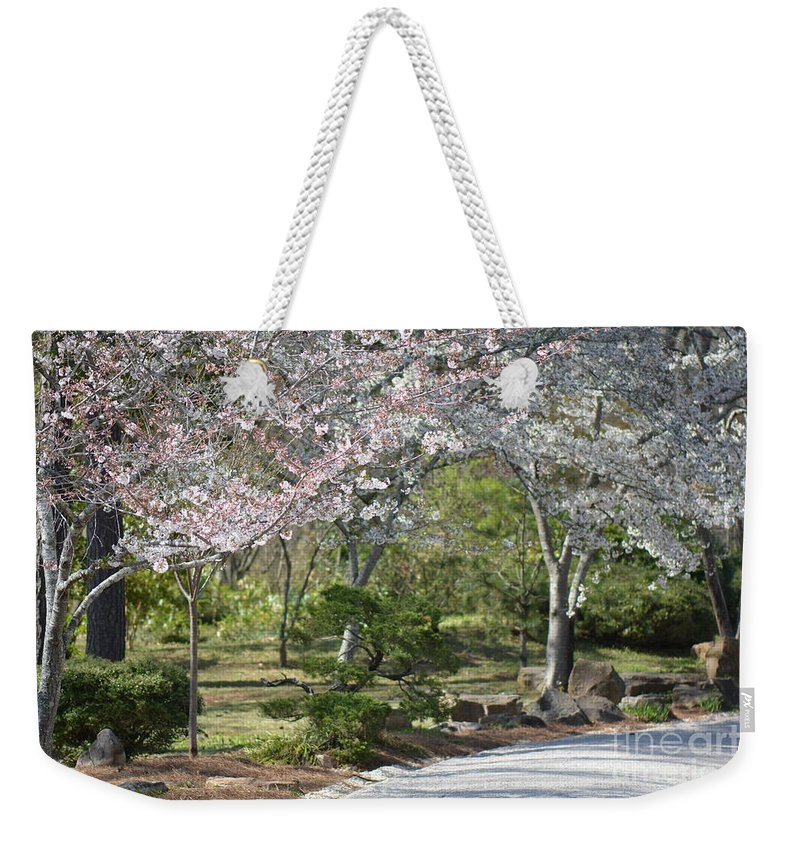 Flowers Weekender Tote Bag featuring the photograph Cherry Lane Series Picture H by Barb Dalton
