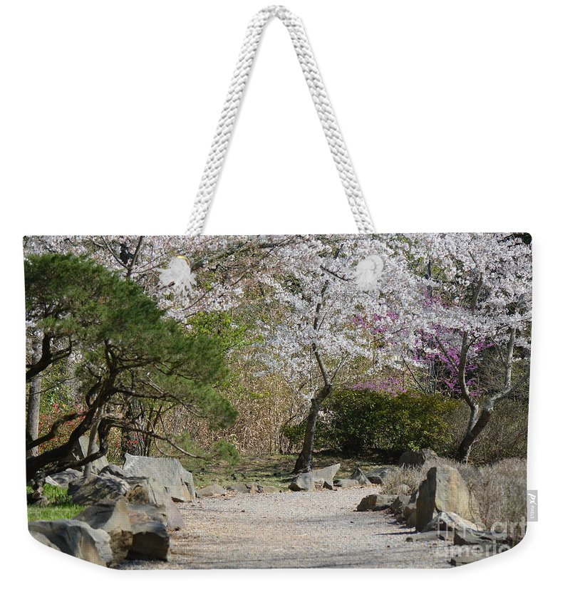 Flowers Weekender Tote Bag featuring the photograph Cherry Lane Series Picture J by Barb Dalton