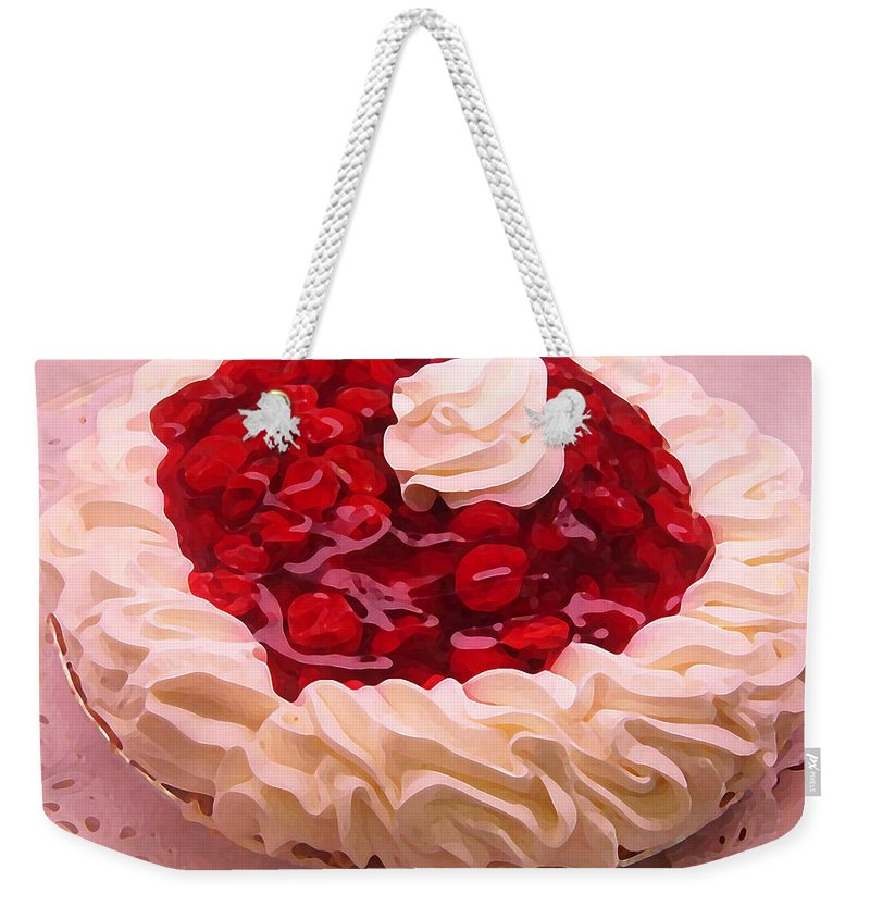 Still Life Weekender Tote Bag featuring the painting Cherry Pie With Whip Cream by Amy Vangsgard