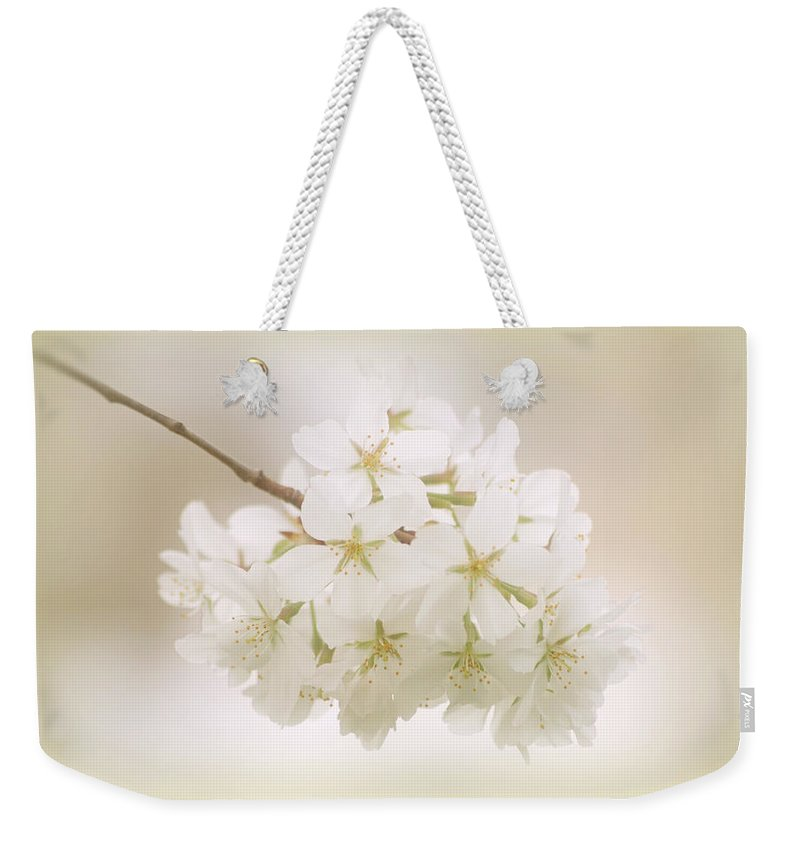 Cherry Tree Blossoms Weekender Tote Bag featuring the photograph Cherry Tree Blossoms by Sandy Keeton