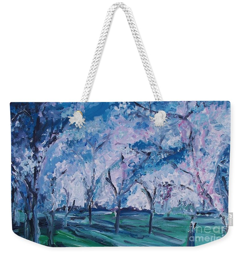 Cherry Trees Weekender Tote Bag featuring the painting Cherry Trees Impressionism by Eric Schiabor