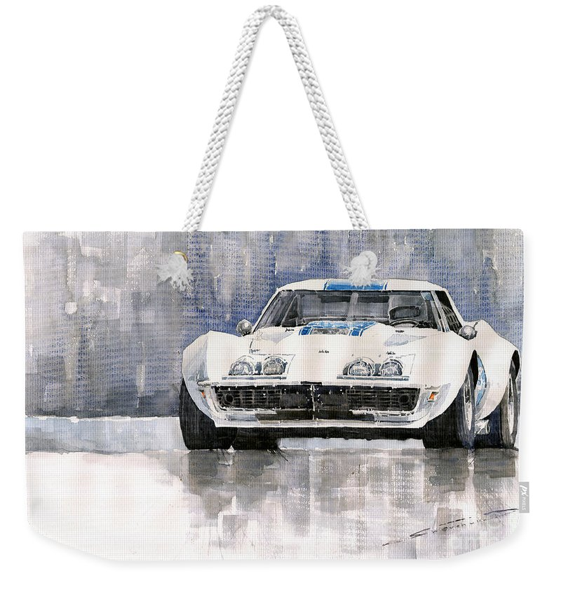 Watercolor Weekender Tote Bag featuring the painting Chevrolet Corvette C3 by Yuriy Shevchuk