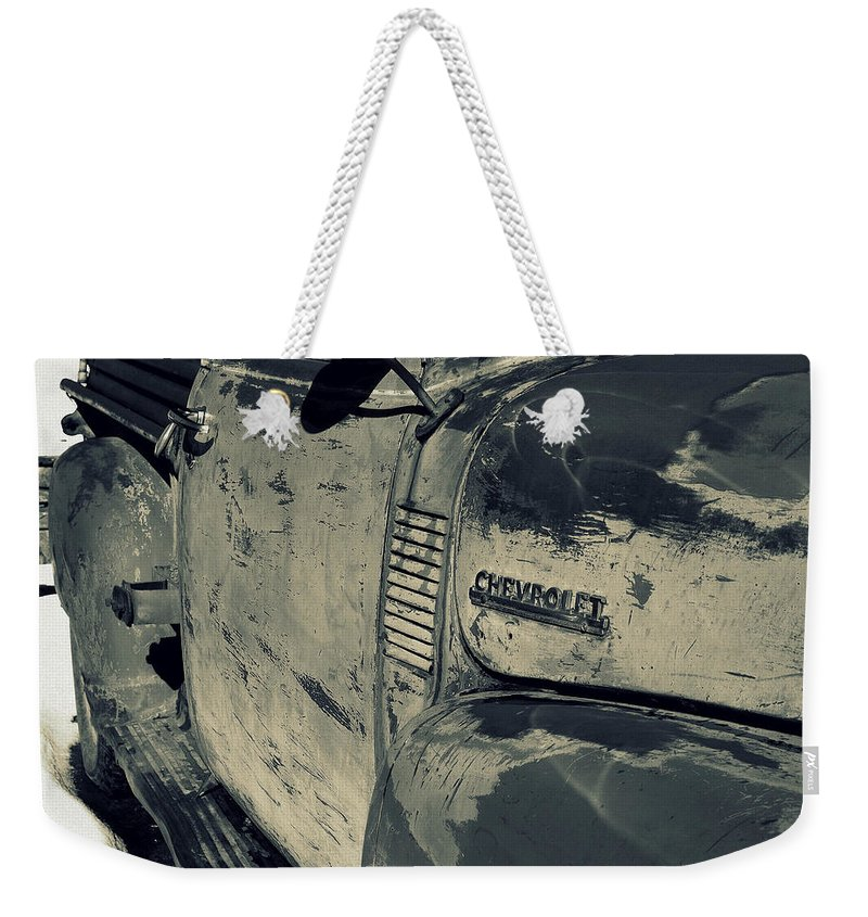 Chevrolet Weekender Tote Bag featuring the photograph Arroyo Seco Chevy In Silver by Gia Marie Houck
