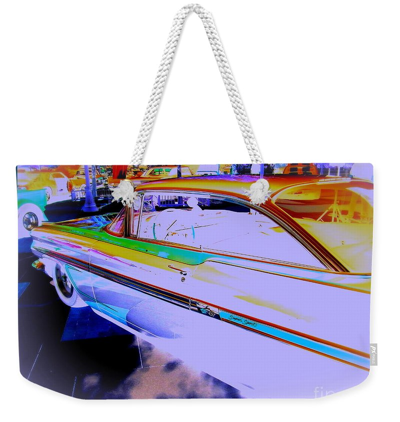 Chevy Weekender Tote Bag featuring the photograph Chevy Psycho Delic by Bobbee Rickard