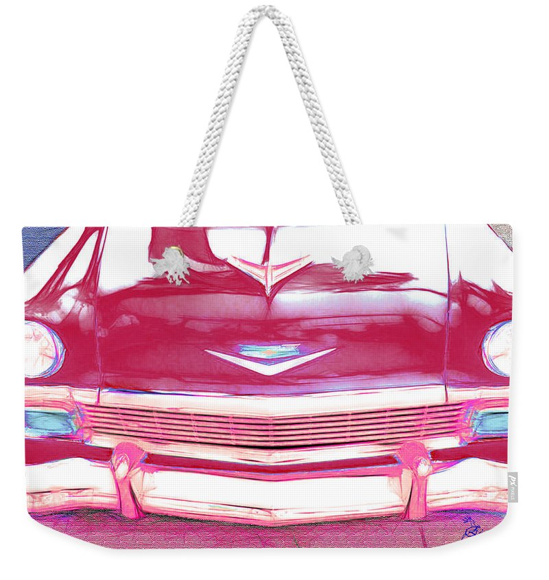 Chevy Weekender Tote Bag featuring the photograph Chevy - Red by Ericamaxine Price