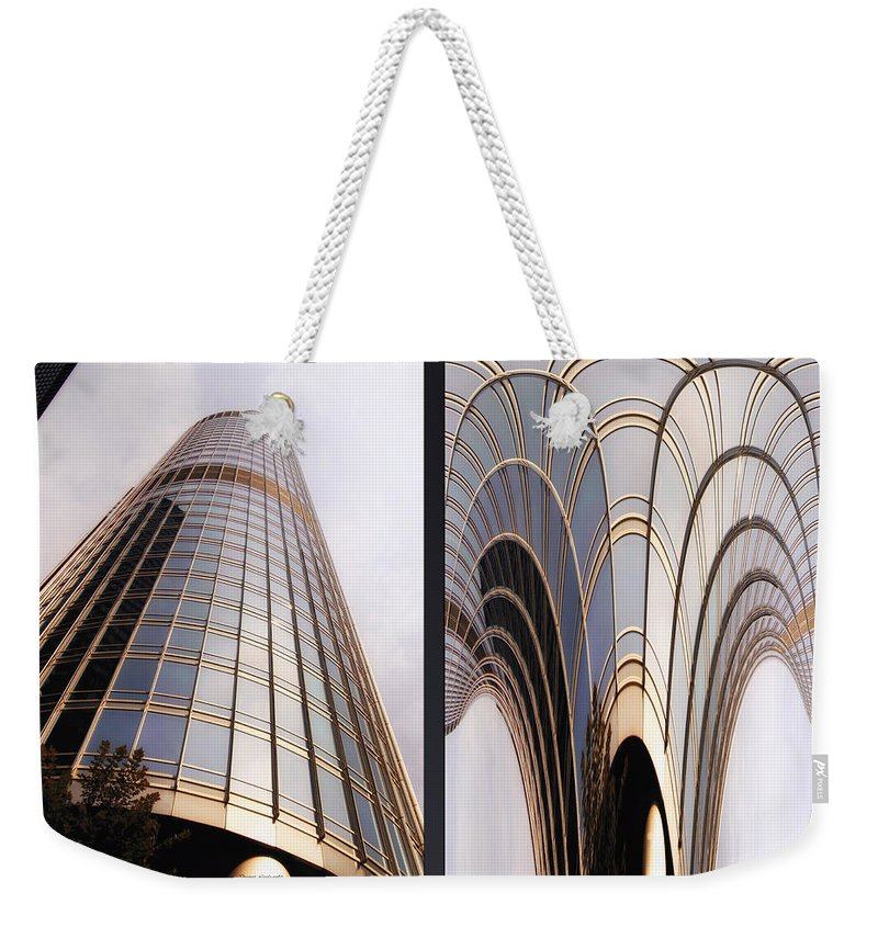 Chicago Weekender Tote Bag featuring the photograph Chicago Abstract Before And After Sunrays On Trump Tower 2 Panel by Thomas Woolworth