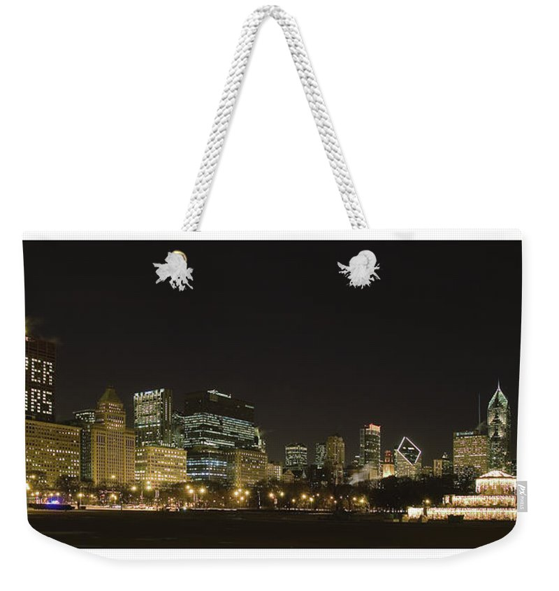 Chicago Bears Weekender Tote Bag featuring the photograph Chicago Bears-chicago Skyline by Patrick Warneka