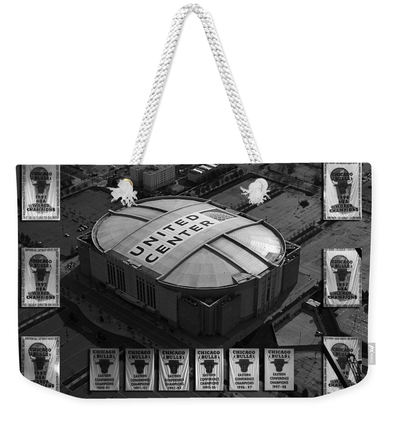 Chicago Bulls Weekender Tote Bag featuring the photograph Chicago Bulls Banners In Black And White by Thomas Woolworth