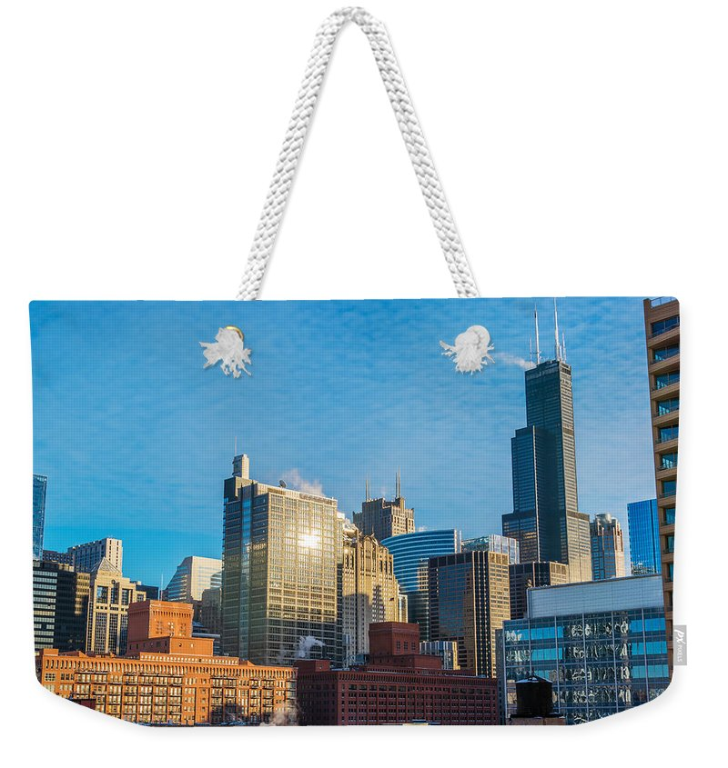Architecture Weekender Tote Bag featuring the photograph Chicago Cityscape During The Day by Jess Kraft