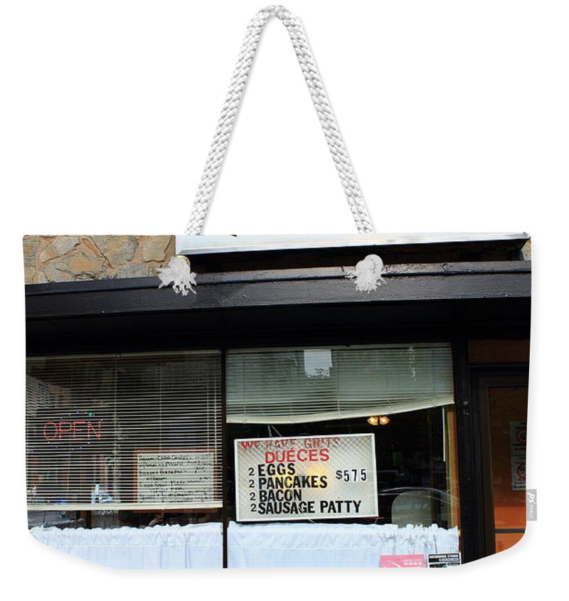 America Weekender Tote Bag featuring the photograph Chicago Storefront 2 by Frank Romeo