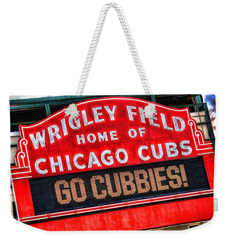 Chicago Weekender Tote Bag featuring the painting Chicago Cubs Wrigley Field by Christopher Arndt