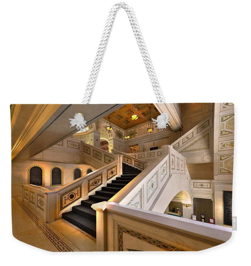 Stairwell Weekender Tote Bag featuring the photograph Chicago Cultural Center by Steve Gadomski