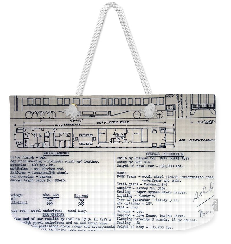 C&e Il Weekender Tote Bag featuring the photograph Chicago Eastern Il Rr Business Car Blue Print by Thomas Woolworth