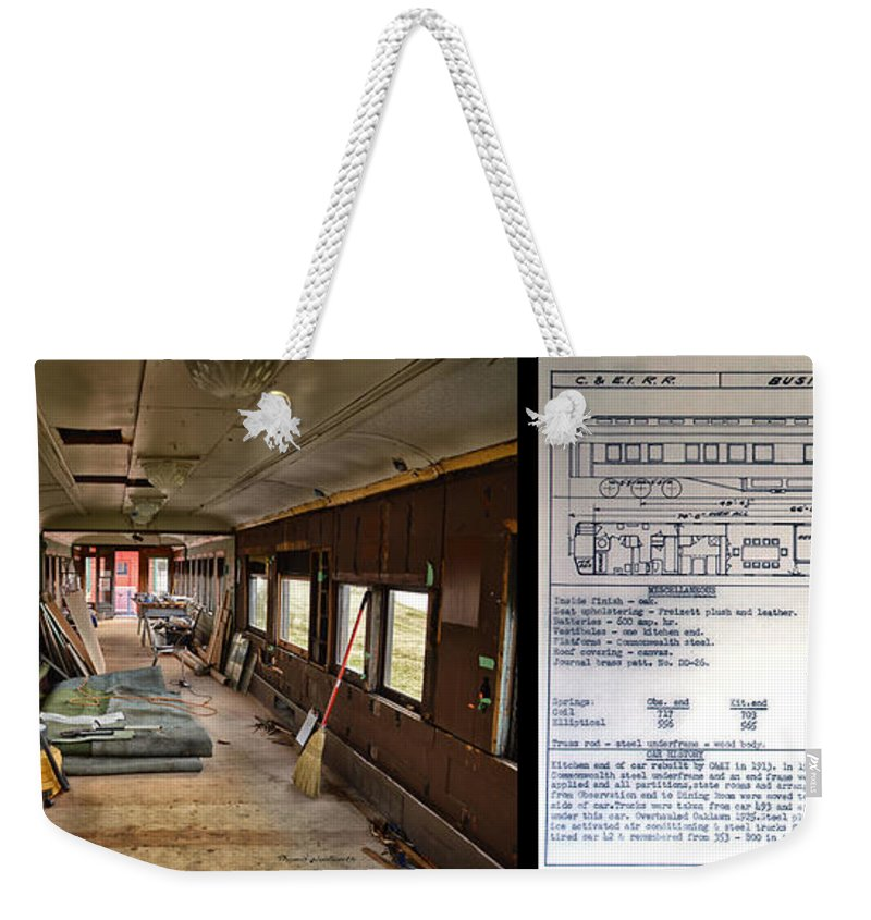 C&e Il Weekender Tote Bag featuring the photograph Chicago Eastern Il Rr Business Car Restoration With Blue Print by Thomas Woolworth